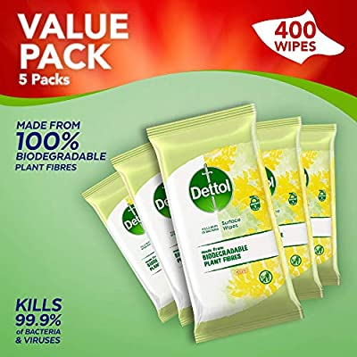 Dettol Wipes Biodegradable Citrus Antibacterial Multi Surface Cleaning, 5 Packs of 80 Total 400 Wipes from RB