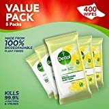 Dettol Wipes Biodegradable Citrus Antibacterial Multi Surface Cleaning, 5 Packs of 80 Total 400 Wipes