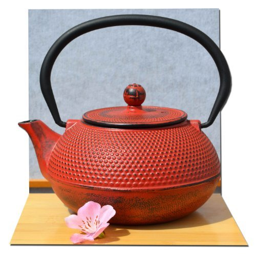 Gifts Of The Orient GOTO®® - Tetsubin Japonés Estilo Hierro Fundido Atardecer Rojo Clavo Té Olla Tetera 0.6 litros