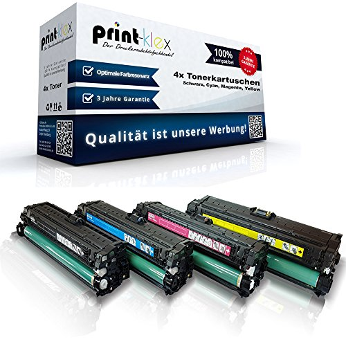 4x Print-Klex Tonerkartuschen kompatibel für HP Color LaserJet Enterprise M 550 Series Cf360A CF361A CF362A CF363A HP 508 A - Sparset -Office Pro Serie