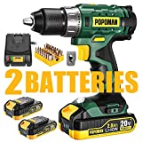 Cordless Drill, 20V Drill Driver 2x2000mAh Batteries, 398 In-lbs Torque, 21+1 Torque Setting, 1/2' Metal Keyless Chuck, Fast Charger 2.0A, 2-Variable Speed, 33pcs Accessories for Wood, Handwork(Black)
