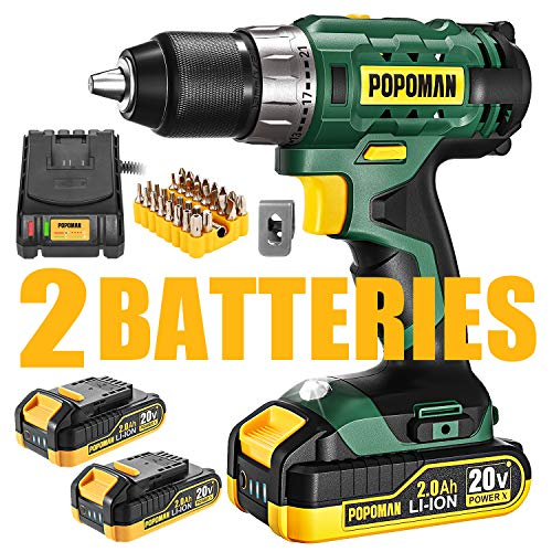 Cordless Drill 20V Drill Driver 2x2000mAh Batteries 398 Inlbs Torque 211 Torque Setting 1/2quot Metal Keyless Chuck Fast Charger 20A 2Variable Speed 33pcs Accessories for Wood HandworkGreen