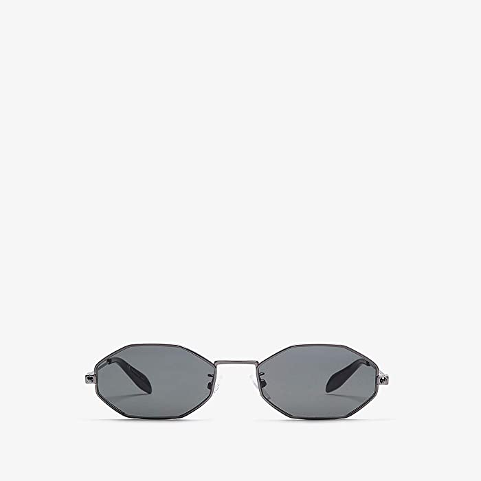 Alexander McQueen  AM0211SA (Shiny Dark Ruthenium/Solid Grey) Fashion Sunglasses