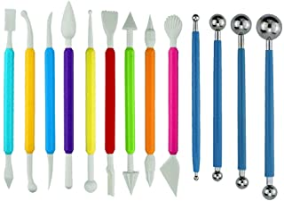 SaktopDeco 13 PCS Fondant Tools Cake Fondant Modeling Decorating Tools Ball Stylus Tool Gum Paste Flower Tools Kit Set