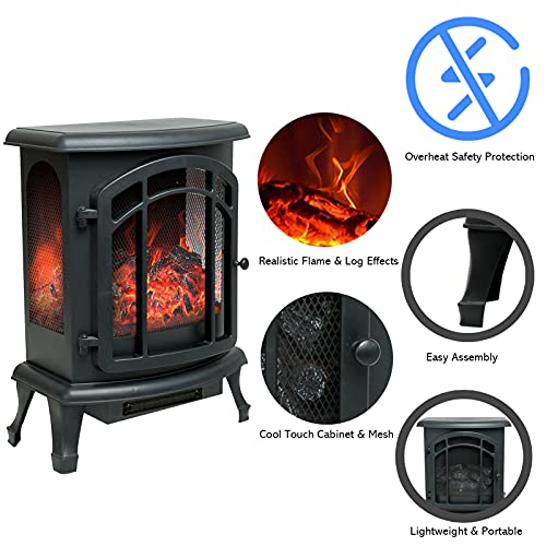 Product Image 2: Helios&Hestia 24″ Tall Electric Wood Stove Fireplace with Flame Effect, Freestanding Portable Indoor Space Heater with Remote