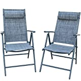 PatioPost Outdoor Folding Chair with Armrest Adjustable Reclining Lawn Chair...