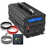 EDECOA インバーター 12V 2000W DC 12Vを100V 110V ACへ変換 50Hz/60Hz LCDディスプレイ及びリモコン搭載 ハンドル 12v 電源 災害対策 地震 防災用品 2 2.1A USB