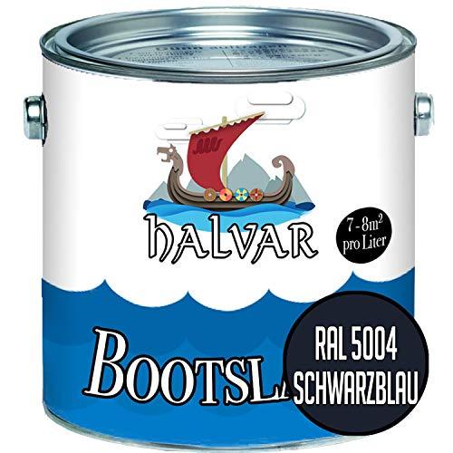 Halvar Bootslack Blau RAL 5000-5024 Yachtlack GLÄNZEND Bootsfarbe Yachtfarbe PU-verstärkt für Holz & Metall verstärkt extrem belastbar hochelastisch Schiffslackierung (2,5 L, RAL 5004 Schwarzblau)