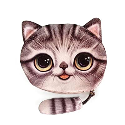 Cai- new coin purses girls wallet 3D printing cute cat with tail animal big face wallets small zipper change bags for women four cute patters Cr11 (Gray) from