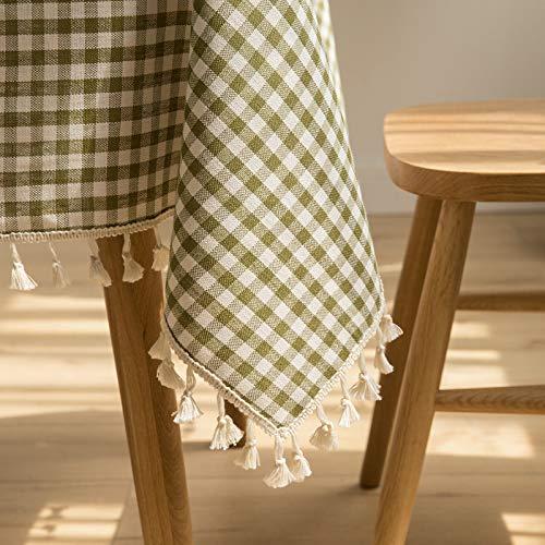 Mantel impermeable de lino de algodón, mantel de tela de arte estilo cuadrícula mantel, borla rectangular hogar nórdico pequeño lino de algodón fresco Libreta