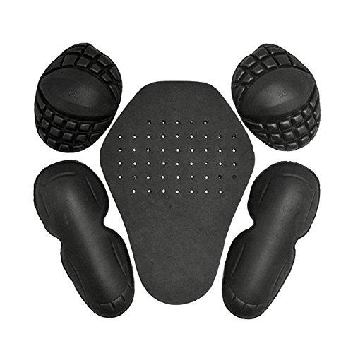 5 abnehmbare EVA-Protektoren für Schulter, Ellenbogen, Rücken, Motorrad-Schutzkleidung, Set mit eingebautem Motorrad-Rennschutz