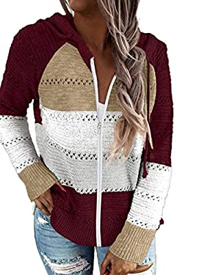 Biucly 2020 Womens Long Sleeve Zip Up Red Hoodie Women Knitted Lightweight Jacket Sweatshirt Hoodies for Women Fashion Casual Fall Winter Clothes Knitted Large