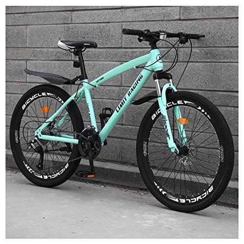COSCANA Bicicleta De Montaña con Suspensión Delantera De Cuadro De 17', MTB De 21-27 Velocidades, Frenos De Disco Doble Bicicleta De Montaña para Hombres, Mujeres Y AdultosGreen-24 Speed
