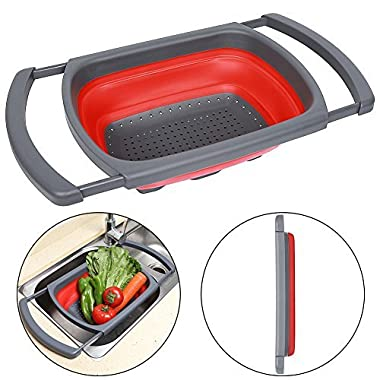 Qimh Colander collapsible, Colander Strainer Over The Sink Vegtable/Fruit Colanders Strainers With Extendable Handles, Folding Strainer for Kitchen,6 Quart (red)
