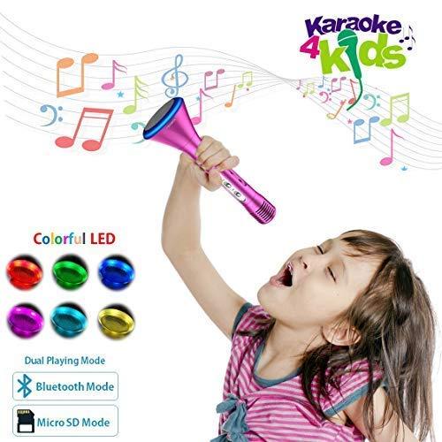 KOMVOX Kids Karaoke Microphone Machine For Kids Girls Toddlers Best Toys, Bluetooth Handheld Singing Machine Christmas Gift for 3 4 5 6 Year Old Little Girls, Girls Gifts For Birthday Christmas Party