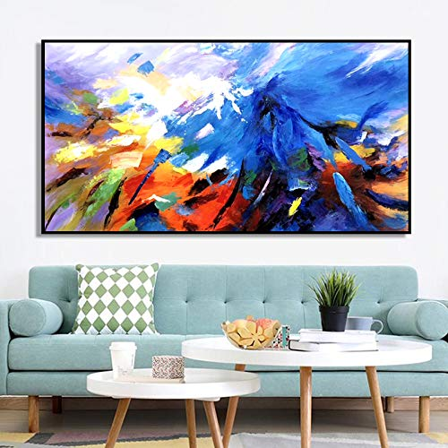Hand Painted Oil Painting,Large Abstract Blue Mountain Oil Paintings On Canvas Wall Art For Living Room Bedroom Home Decorations Modern 100% Hand Painted Contemporary Landscape Artwork,100 X 200 Cm Fr