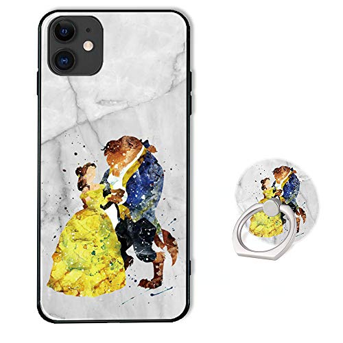 Disney Phone Case for iPhone 11 with Ring Holder Kickstand,Soft TPU Rubber Silicone Protective Cover for iPhone 11 (6.1 inch) - Beauty and The Beast White Marble