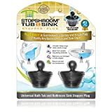 StopShroom Tub 2 Pack Universal Stopper for Bathtub and Bathroom Sink Drains, Black Plug 2pk, 2 Count