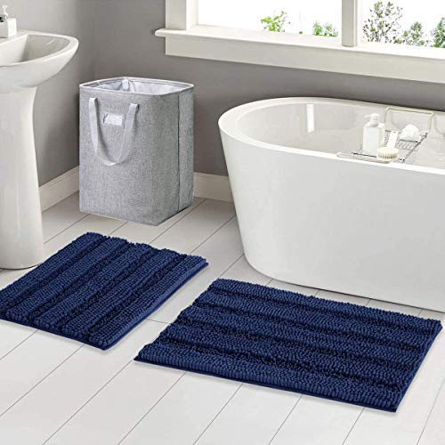 Pretigo Bathroom Rug,Super Thick Soft Non Slip Shaggy Chenille Bath Mats 2 PCS,Kitchen Bedroom Living Room Mats,Dry Fast Water Absorbent Floor Carpets Machine Washable 20'x32'+17'x24'(Navy)