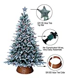 ABUSA Flocked Prelit Artificial Christmas Tree Top Star Tree Collar Gifted 7.5 ft Snowy...