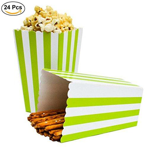 Ouinne Cajas de Palomitas, 24PCS Popcorn Boxes Maíz Envases del Sostenedor Cajas de Cartón de Bolsas de Papel para el Partido (Verde)