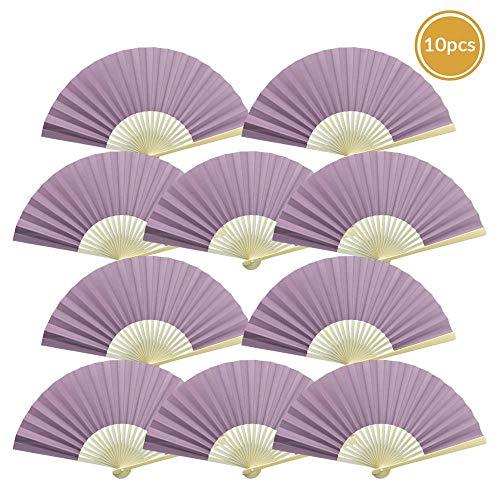 "Quasimoon 9"" Lavender Paper Hand Fans for Weddings, Premium Paper Stock (10 Pack) by PaperLanternStore"