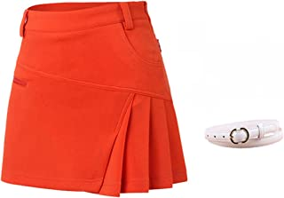 Women's Athletic Skort Lady's Stretchy Skirt with Zipper Pocket Shorts Underneath for Golf Tennis Running Workout