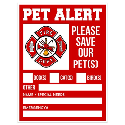 Pet Alert Fire Rescue Sticker - 5x 4 Double Sided (2 Pack) - Save Our Pets Emergency Pets Inside Decal - Danger Pet In House - Protect Dogs Cats Birds - Apply Either Outside or Inside Facing Out.