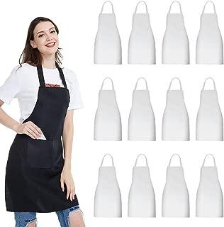 NOBONDO 12 Pack Bib Apron - Unisex White Apron Bulk with 2 Roomy Pockets Machine Washable for Kitchen Crafting BBQ Drawing