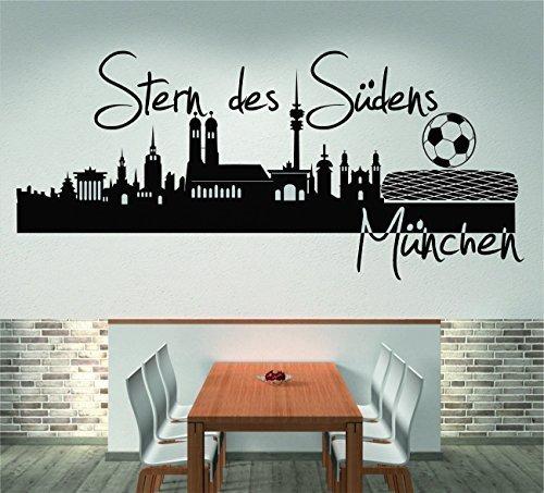 Skyline München Stern des Südens (120 cm Breite, schwarz), Wandtattoo, Wandaufkleber, Wohnzimmer, Dekoration, Wanddekoration + GRATIS-Zugabe!!!
