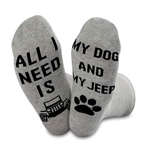 """Jeep-Zubehör """"All I Need Is My Jeep And My Dog""""-Socken für Jeep-Liebhaber Gr. M, Jeep-Socken"""