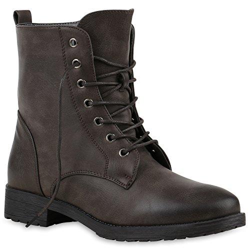 Damen Schnürstiefeletten Boots Camouflage Stiefeletten Leder-Optik Schnür Übergrößen Schuhe...