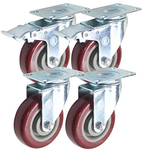 4 inch (Set of 4) with 2 Swivel/Brake Casters and 2 Swivel Casters - Poly Tread, Sealed Industrial Bearing Wheels - Foghorn Construction