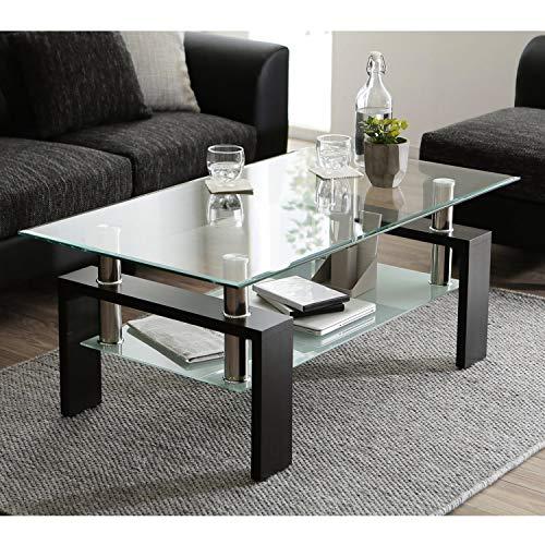 VSTAR66 Couchtisch aus gehärtetem Glas, schwarzer moderner rechteckiger Teetisch mit unterem Regal und Holzbeinen
