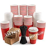 110 Pack Disposable Coffee Cups with Lids - Premium Quality 16 oz To Go Coffee Cups with Sleeves, Tight Lids to Prevent Leaks & Straws - This Paper Hot Cup Holds Shape With Hot Drinks - Cherry Red