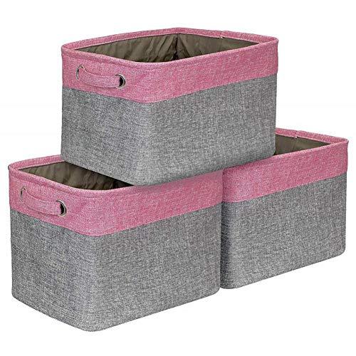 TARTIERY Cesta de Almacenamiento Plegable Grande – Caja de Almacenamiento en Lino y algodón, Organizador de Almacenamiento para Juguetes de bebé (3 Piezas, Negro/Rosa/Gris, etc.).