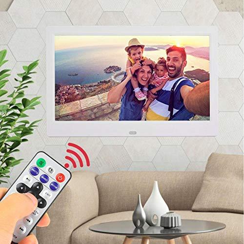 Marco de fotos digital HD Álbum electrónico de pantalla ancha de 10 pulgadas, para decoración, para fotografías de almacenamiento, para el hogar, para la oficina(blanco, Enchufe europeo 100-240V)