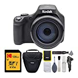 Kodak PIXPRO Astro Zoom AZ901-BK 20MP Digital Camera with 90X Optical Zoom and 3' LCD (Black) with 128GB V30 SDXC Card and Holster Case Accessory Bundle (3 Items)