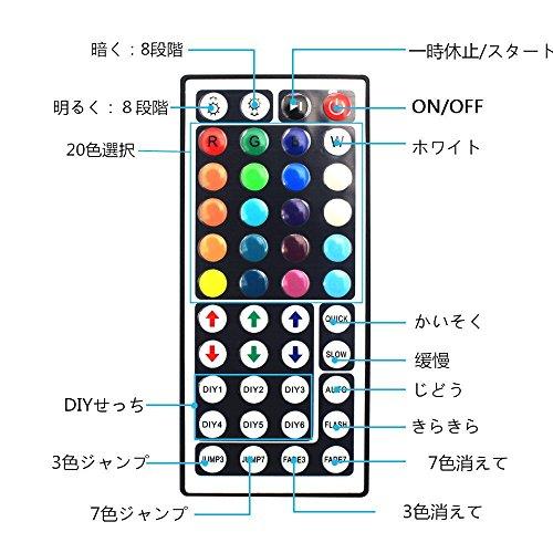 WenTopLEDテープライトスーツSMD5050両面テープ10M超長ウルトラロングテープled非防水RGB44Kコントローラーと12v電源高輝度切断可能ledテープ明るいライト
