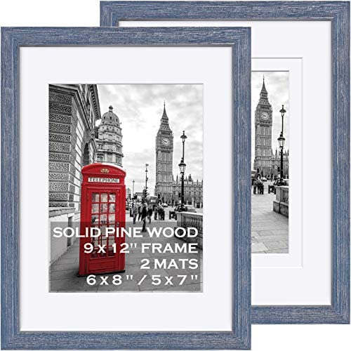 9x12 Blue Picture Frames Solid Wood Display Pictures 6x8 or 5x7 with Mat or 9x12 without Mat product image