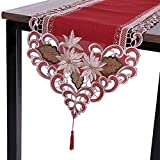 Sattiyrch Christmas Embroidered Table Runner, Luxury Poinsettia and Holly Table Runner for Xmas Decorations,15x69 Inch (Red)…