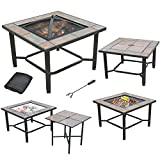 AXXONN 5 in 1, 30' Square Tile Top Fire Pit, Grill, Cooler, Coffee Table and Side Table with Cover