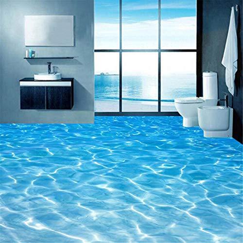 Benutzerdefinierte 3D Boden Wandbilder Tapete Meerwasser Oberfläche Ripple Fototapete PVC Wasserdichte Badezimmerboden Aufkleber Vinyl Tapeten, 300 * 210 cm
