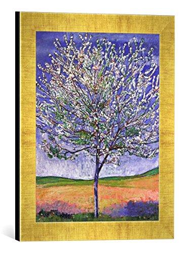Gerahmtes Bild von Ferdinand Hodler Blühender Kirschbaum, Kunstdruck im hochwertigen handgefertigten Bilder-Rahmen, 30x40 cm, Gold Raya