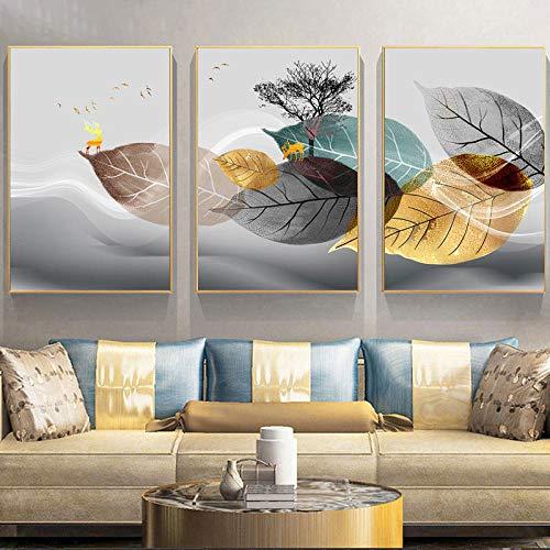 WTYBGDAN Cartel de Planta Abstracto en Blanco y Negro Impresión de Lienzo Hojas Cuadro de Arte de Pared Pintura Decorativa de Sala de Estar Minimalista Moderna | 50x70cmx3Pcs / Sin Marco
