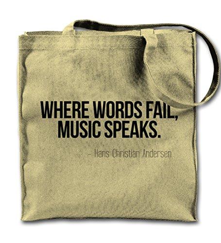 Teequote Where Words Fail Music Speaks Hans Christian Andersen Zitat Natürliche Leinwand Tote Tragetasche, Tuch Einkaufen Umhängetasche