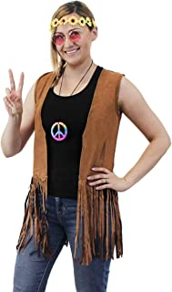 60s 70s Hippie Costume Accessories - 5-Set Vest Headband Glasses Pouch Necklace, Women Size S