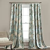 Lush Decor Botanical Garden Curtains Floral Bird Print Room Darkening Window Panel Drapes Set for Living, Dining, Bedroom (Pair), 84' x 52', Blue, 2 Count