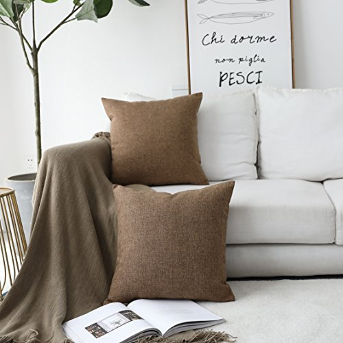 Home Brilliant Decorative Throw Pillow Covers Faux Linen Cushion Covers for Bed Couch Sofa Bench, 18x18 inches(45cm), Brown