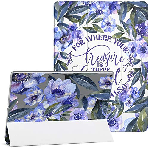 Mertak Case Compatible with iPad Pro 11 2020 12.9 2019 2018 Air 3 2 10.2 8th 7th Gen Mini 5 4 10.5 inch 9.7 Christian Magnetic Blue Protective Bible Verse Auto Wake Sleep Flowers Matthew 6:21 Quote
